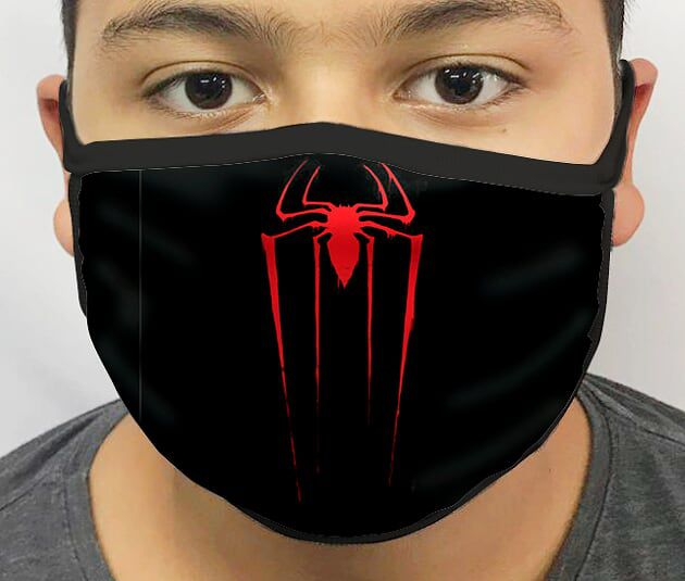 Máscara de Tecido Personalizada Símbolo Aranha Lavável Reutilizável - EV