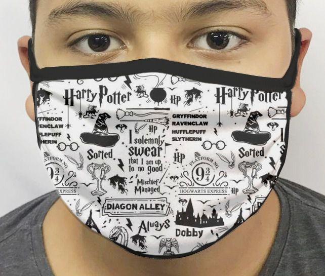 Máscara de Tecido Personalizada Símbolos Bruxo 2 Reutilizável - EV