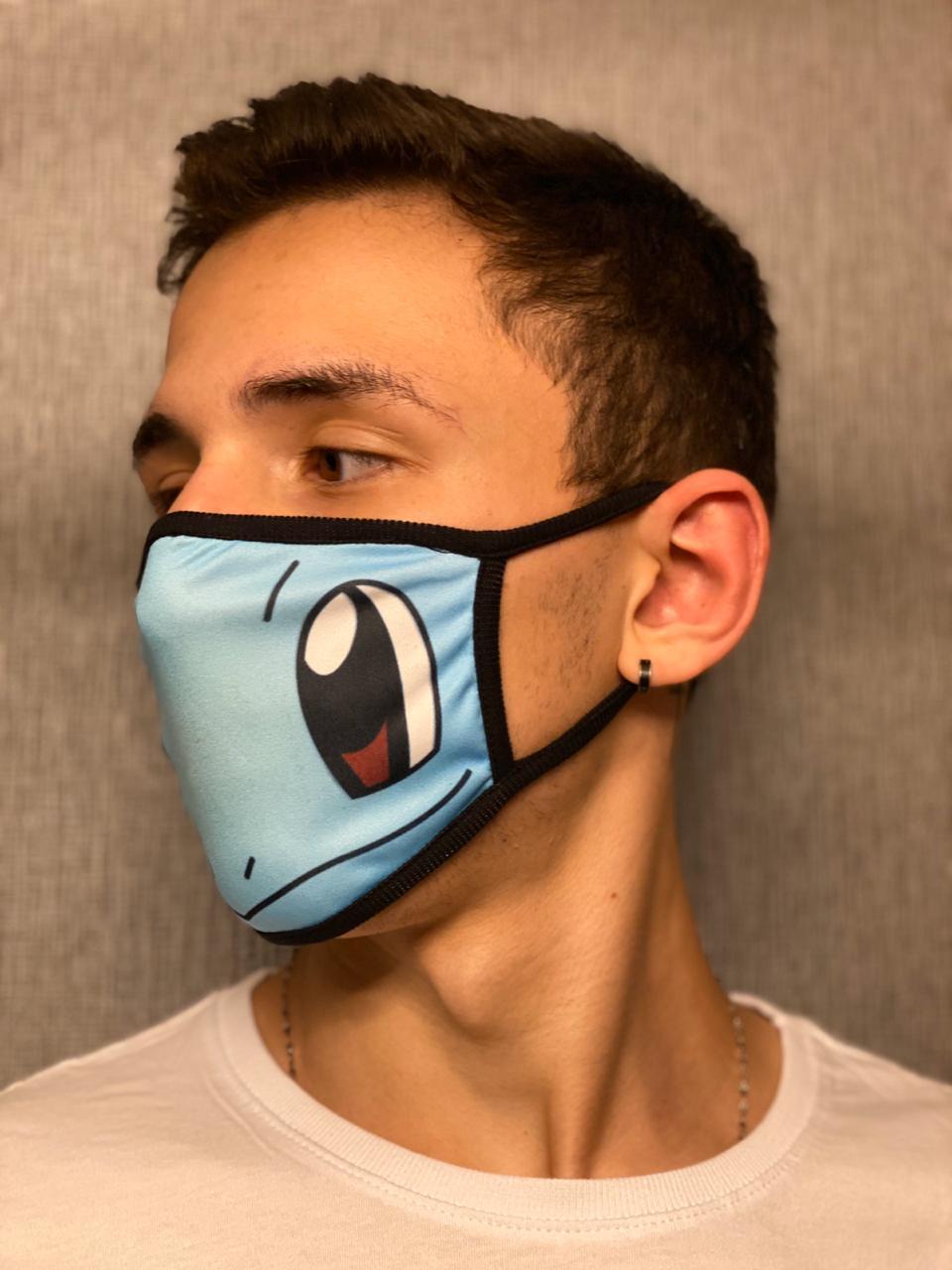 Máscara de Tecido Personalizada Squirtle Pokemon Lavável Reutilizável - EV