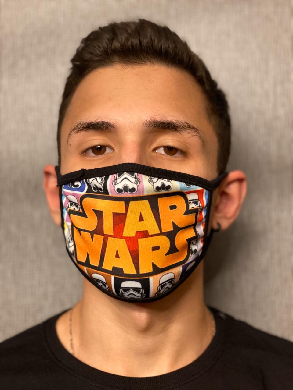 Máscara de Tecido Personalizada Guerra nas Estrelas Lavável Reutilizável - EV