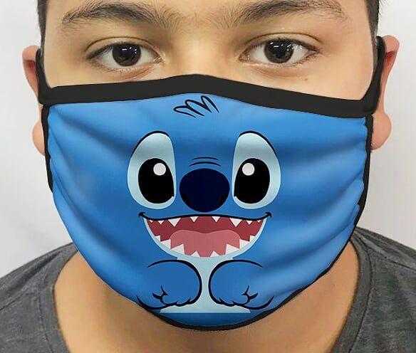 Máscara de Tecido Personalizada Alien Azul (Rosto) Lavável Reutilizável - EV