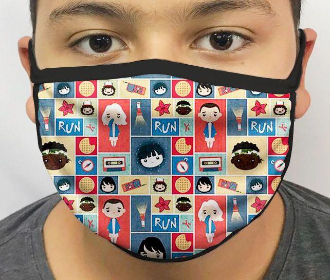 Máscara de Tecido Personalizada Coisas Estranhas 2 Lavável Reutilizável - EV