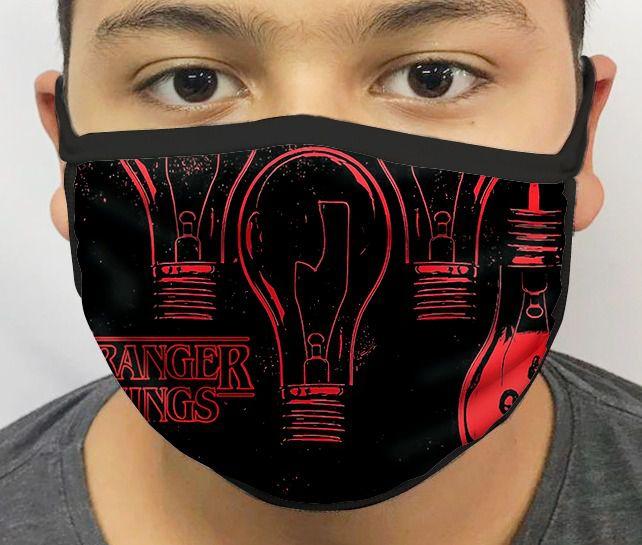 Máscara de Tecido Personalizada Coisas Estranhas Lâmpadas Lavável Reutilizável - EV