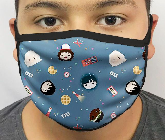 Máscara de Tecido Personalizada Coisas Estranhas Lavável Reutilizável