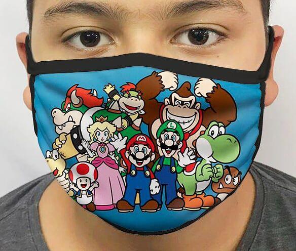 Máscara de Tecido Personalizada Super Mario (Personagens) Lavável Reutilizável - EV