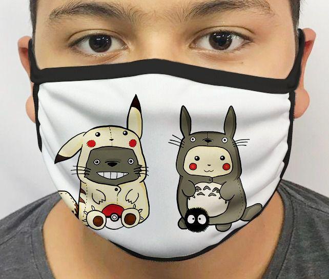 Máscara de Tecido Personalizada Totoro e Pikachu Lavável Reutilizável - EV