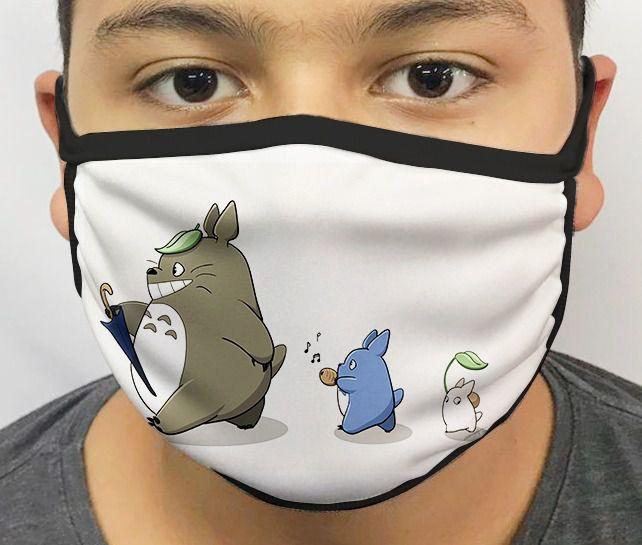 Máscara de Tecido Personalizada Totoro Lavável Reutilizável - EV