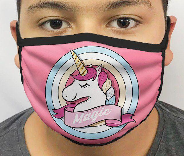 Máscara de Tecido Personalizada Unicórnio Reutilizável - EV