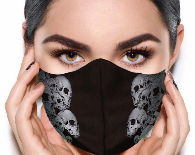 Máscara de Tecido Prime Personalizada Caveiras Cinzas Reutilizável