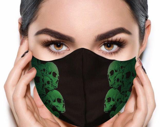 Máscara de Tecido Prime Personalizada Caveiras Verdes Reutilizável - EV