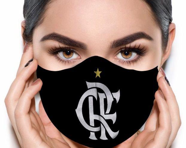 Máscara de Tecido Prime Personalizada Time Flamengo (Preto e Branco) Reutilizável - EV