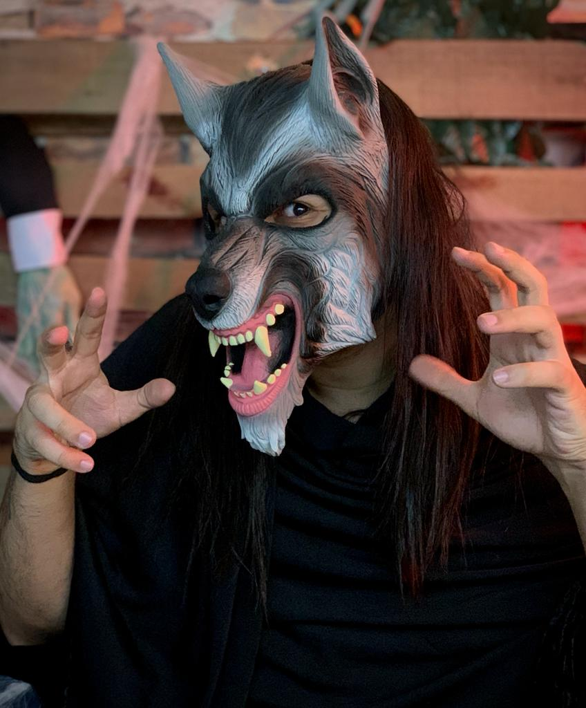 Máscara Lobo Lobisomem: Terror Halloween Dia das Bruxas