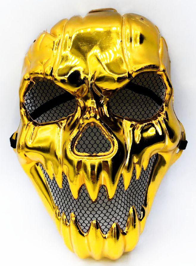 Máscara Metalizada Caveira (Dourado) - Acessório de Fantasia