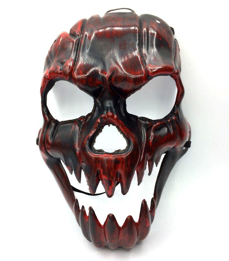 Máscara Metalizada Caveira Vermelho - Acessório de Fantasia