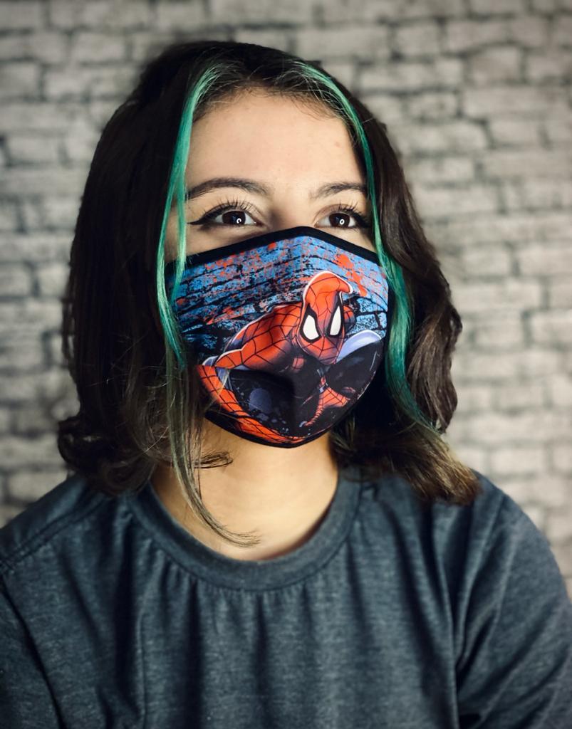 Máscara Tripla Camada Tecido Personalizada Geek Infantil Homem Aranha Spider Man: Marvel Reutilizável Prime Oficial Disney