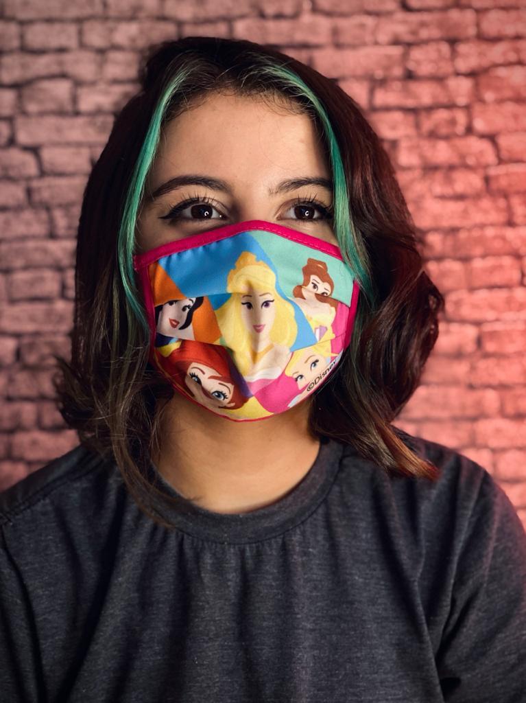 Máscara Tripla Camada Tecido Personalizada Geek Infantil Princesas Animação Reutilizável Prime Oficial Disney