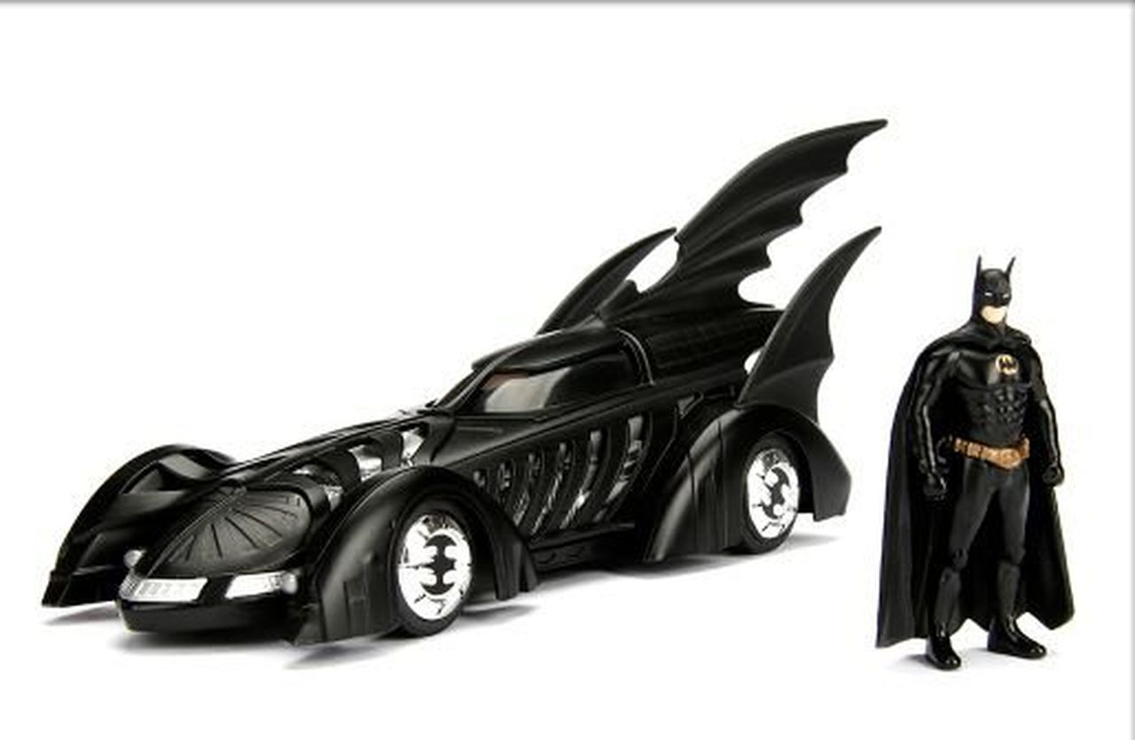 Metal Die Cast Batman e o Batmóvel (Batmobile) 1995: Batman Eternamente (Batman Forever) DC Comics (Escala 1/24) - Jada Toys