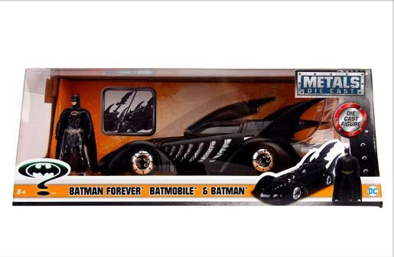Metal Die Cast Batman e o Batmóvel (Batmobile) 1995: Batman Eternamente (Batman Forever) DC Comics (Escala 1/24) - Jada Toys