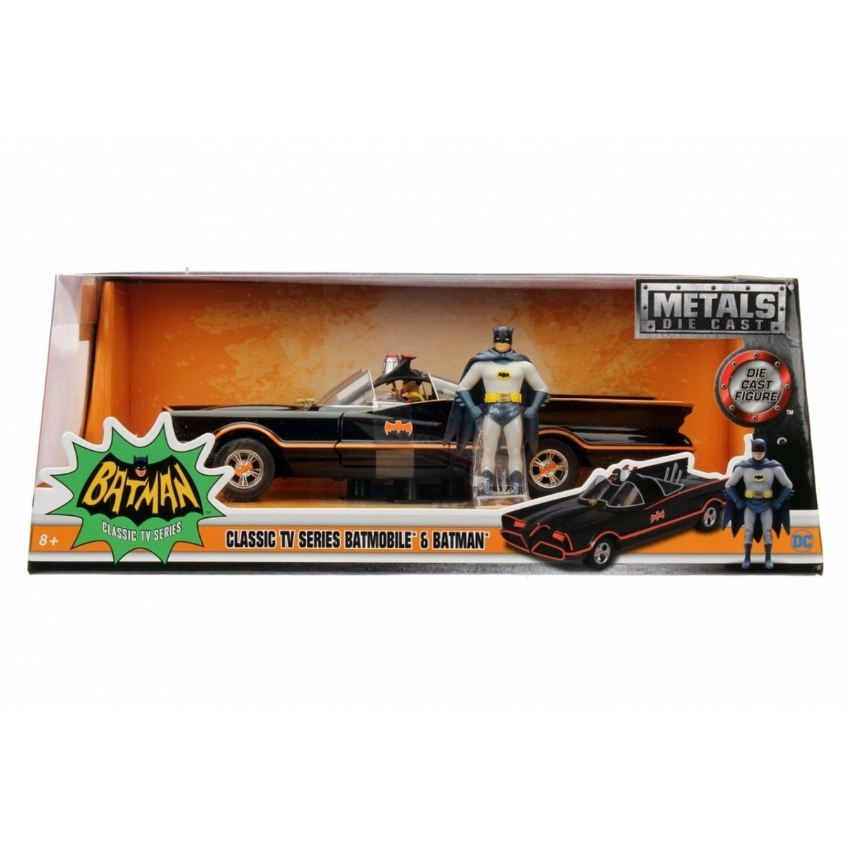 Metals Die Cast Batmobile Clássico: Série TV com Miniatura do Batman e Robin Escala 1/24