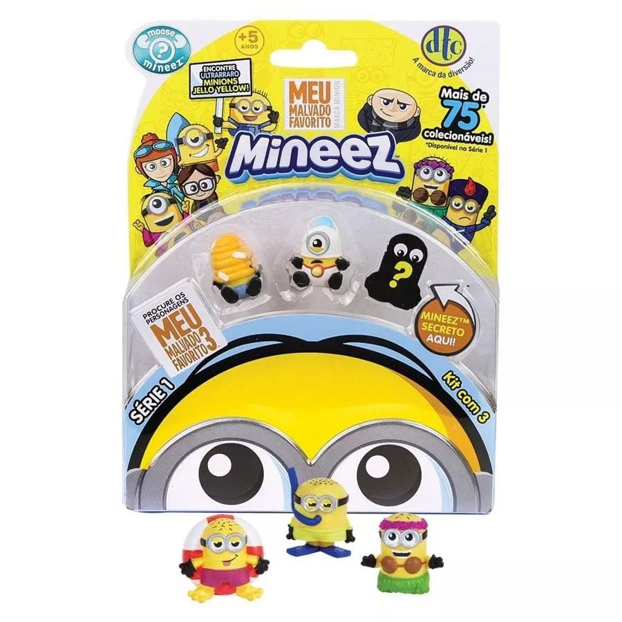 Mineez Minions Kit com 3 Personagens Sortidos: Meu malvado Favorito - DTC