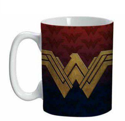 Mini Caneca Logo Mulher-Maravilha (Wonder Woman): DC Comics (Vermelho e Azul) - (135ML)