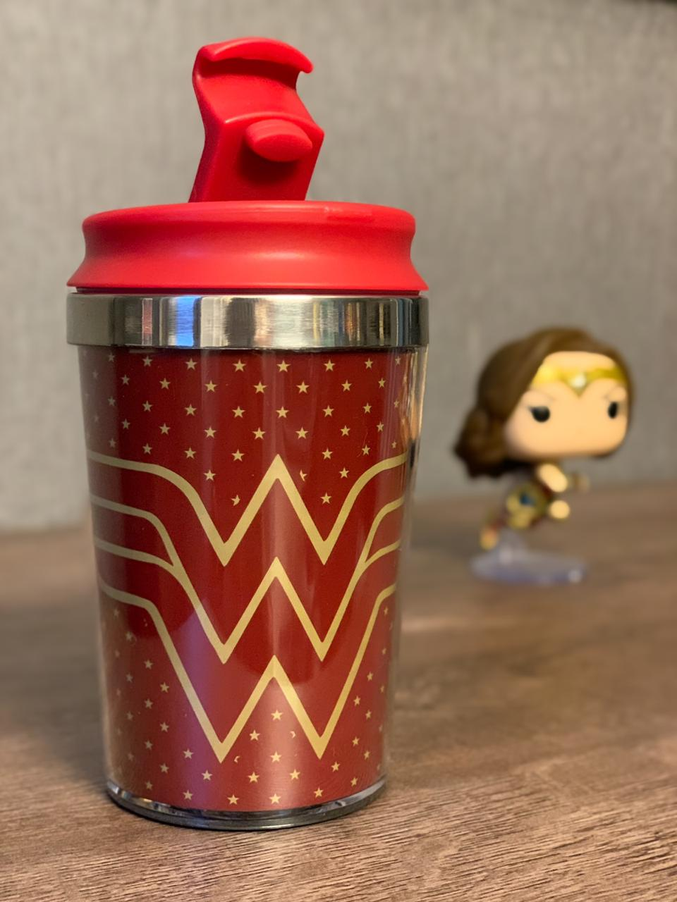 Mini Copo Térmico: Mulher Maravilha: (Wonder Woman) Logo DC Comics (250ml) - Urban