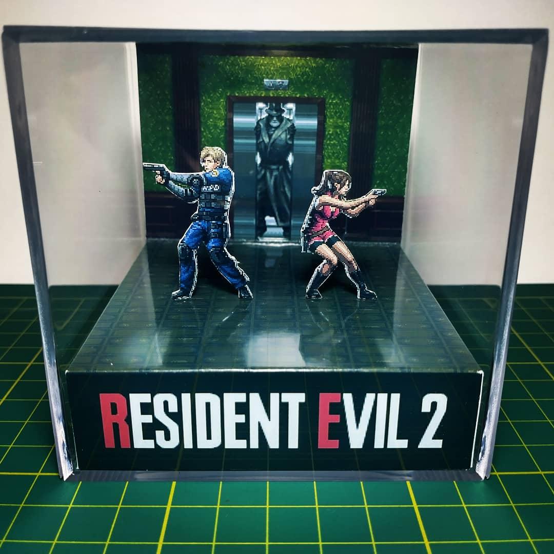 Mini Cubo 3D Leon S. Kennedy e Claire Redfield: Resident Evil 2 - EV