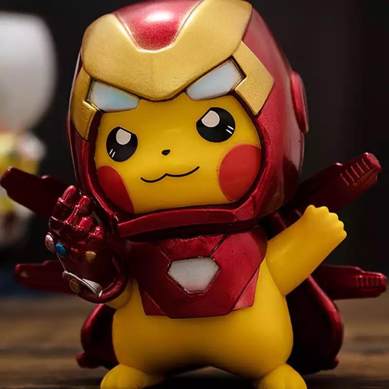 Mini Figura Estátua Pikachu Homem de Ferro Iron man Pokémon Marvel - EVALI