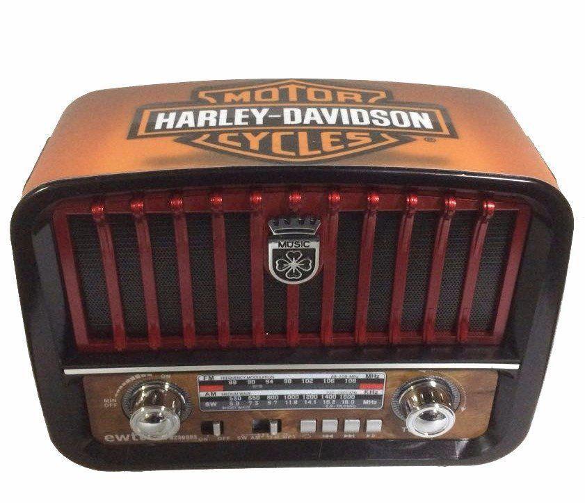 Mini Rádio Vintage Harley Davidson Vermelho