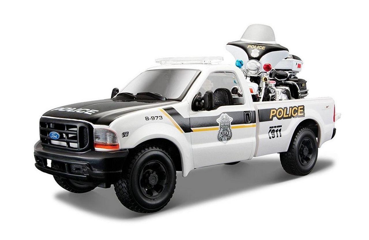 Miniatura 1999 Ford F-350 e Moto: Harley-Davidson (Guide Policia) Escala 1/24 - Maisto