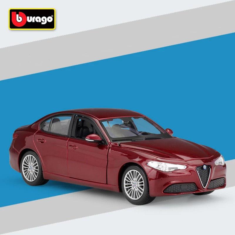 Miniatura Carro Colecionável Alfa Romeo Giulia 2016 Vermelho Diecast Escala 1/24 - Bburago - MKP