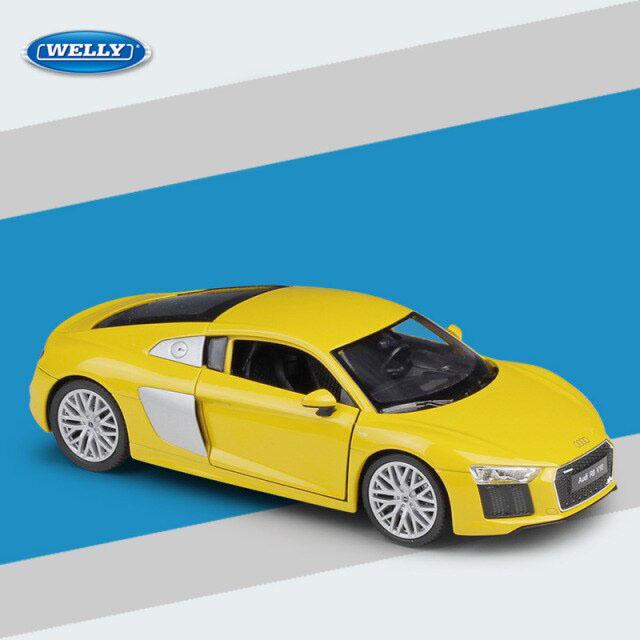 Miniatura Carro Colecionável Audio R8 V10 Amarelo Diecast Escala 1/24 - Welly - MKP