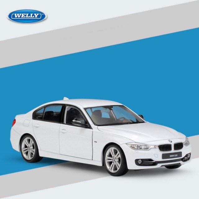 Miniatura Carro Colecionável BMW 335i Branco Diecast Escala 1/24 - Welly