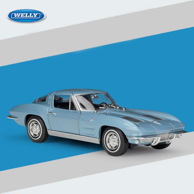 Miniatura Carro Colecionável Chevrolet Corvette 1963 Azul Diecast Escala 1/24 - Welly - MKP