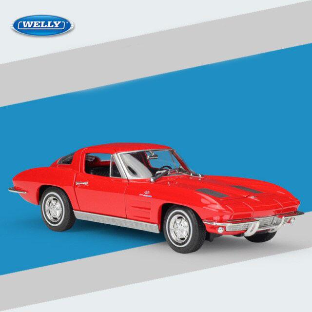 Miniatura Carro Colecionável Chevrolet Corvette 1963 Vermelho Diecast Escala 1/24 - Welly - MKP