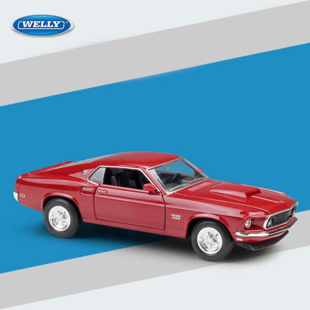 Miniatura Carro Colecionável Ford Mustang Boss 429 1969 Vermelho Diecast Escala 1/24 - Welly - MKP