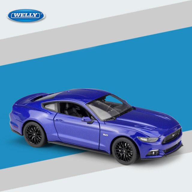 Miniatura Carro Colecionável Ford Mustang GT 2015 Azul Diecast Escala 1/24 - Welly - MKP