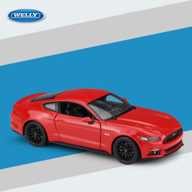 Miniatura Carro Colecionável Ford Mustang GT 2015 Vermelho Diecast Escala 1/24 - Welly - MKP