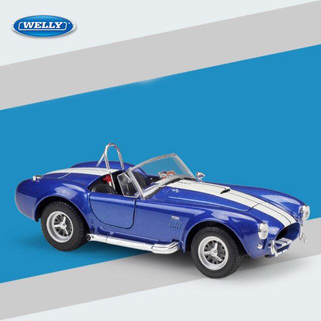 Miniatura Carro Colecionável Ford Shelby Cobra 427 1965 Azul Diecast Escala 1/24 - Welly - MKP