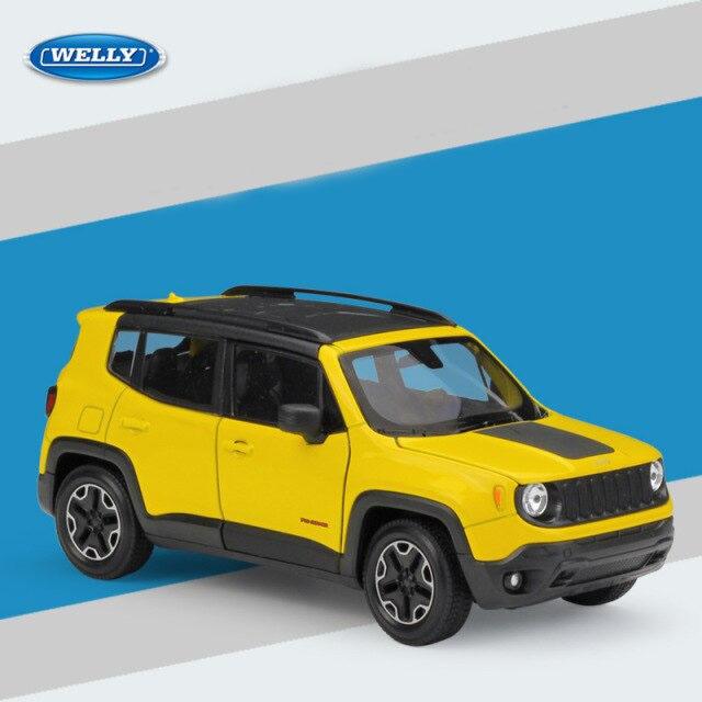 Miniatura Carro Colecionável Jeep Renegade Trailhawk Amarelo Diecast Escala 1/24 - Welly - MKP