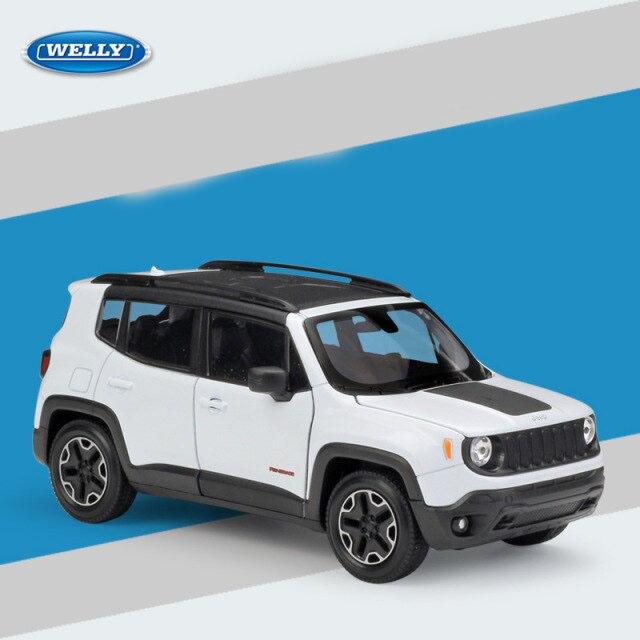 Miniatura Carro Colecionável Jeep Renegade Trailhawk Branco Diecast Escala 1/24 - Welly - MKP