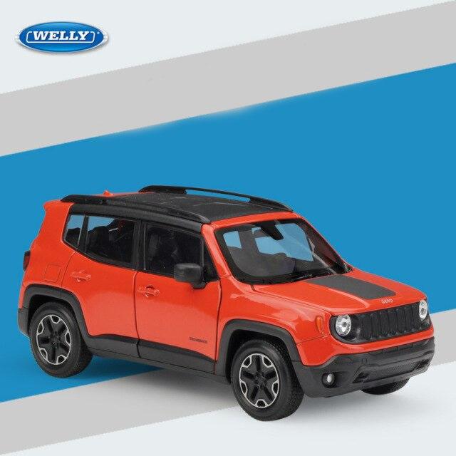 Miniatura Carro Colecionável Jeep Renegade Trailhawk Laranja Diecast Escala 1/24 - Welly - MKP