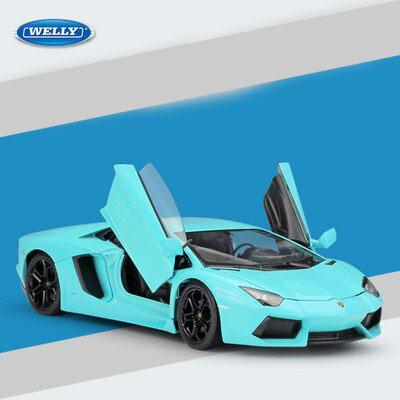 Miniatura Carro Colecionável Lamborghini Aventador LP700-4 Azul Diecast Escala 1/24 - Welly - MKP