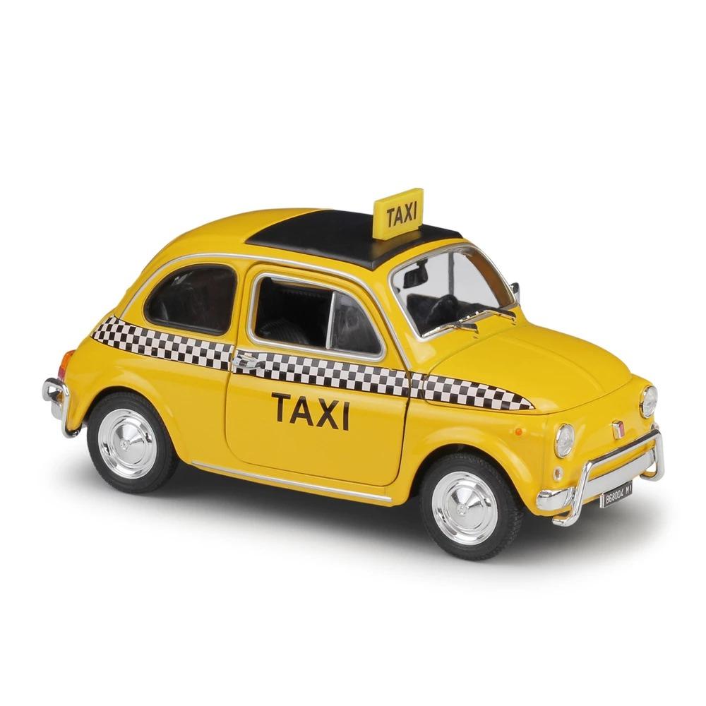 Miniatura Carro Colecionável Novo Fiat 500 Táxi Amarelo Diecast Escala 1/24 - Welly - MKP