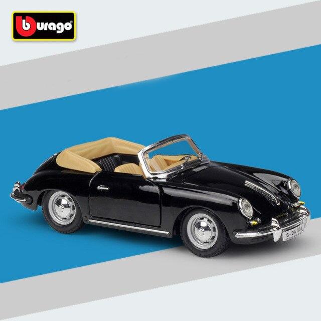 Miniatura Carro Colecionável Porsche 365B Cabriolet 1961 Preto Diecast Escala 1/24 - Bburago - MKP