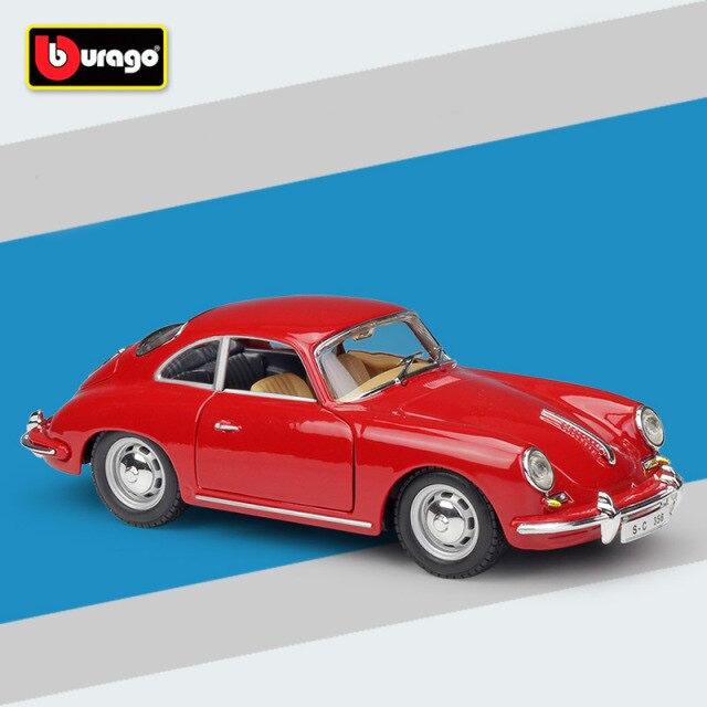 Miniatura Carro Colecionável Porsche 365B Coupe 1961 Vermelho Diecast Escala 1/24 - Bburago - MKP