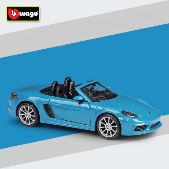 Miniatura Carro Colecionável Porsche 718 Boxster Azul Diecast Escala 1/24 - Bburago - MKP