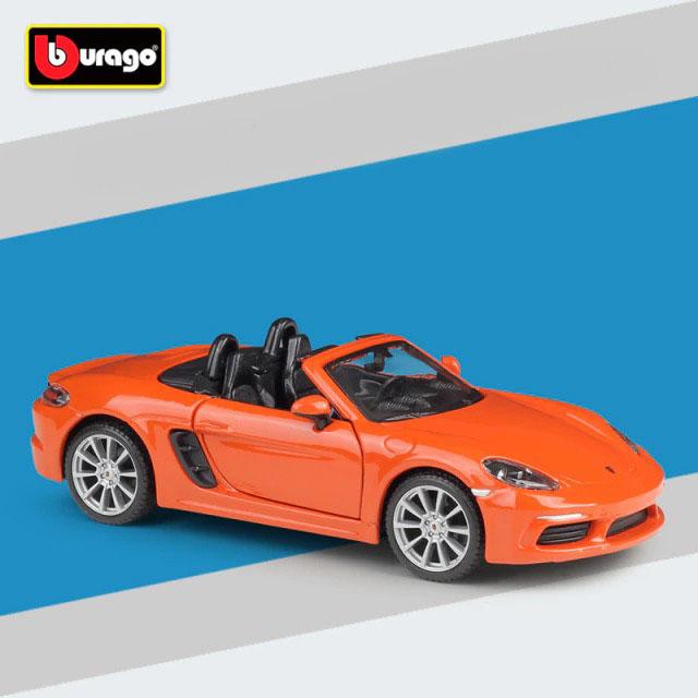 Miniatura Carro Colecionável Porsche 718 Boxster Laranja Diecast Escala 1/24 - BBurago - MKP