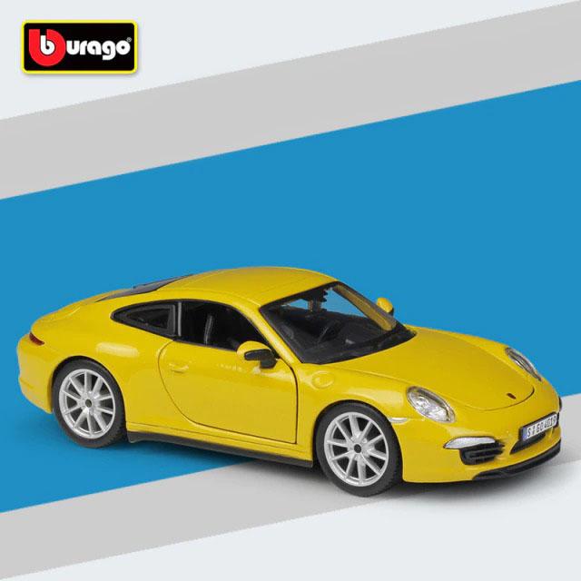 Miniatura Carro Colecionável Porsche 911 Carrera S  Amarelo Diecast Escala 1/24 - Bburago - MKP
