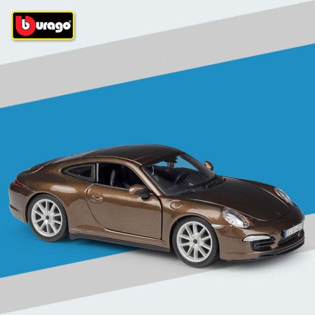 Miniatura Carro Colecionável Porsche 911 Carrera S  Marrom  Diecast Escala 1/24 - Bburago - MKP